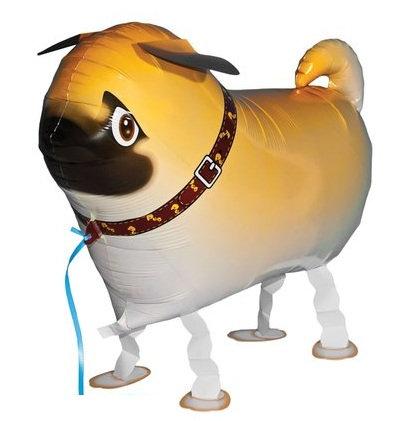"18"" Pug Dog Walking Pet Helium Balloon - wp17"