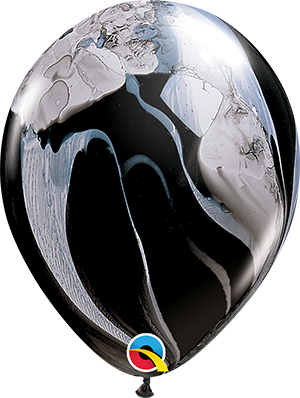 "11"" Agate Latex Balloon - Black & White SuperAgate"