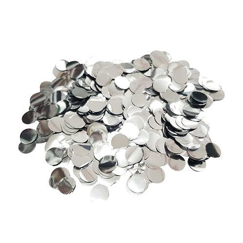 30gram Mini Paper Round Confettis (1cm) - Metallic Silver