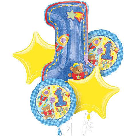 Baby Boy 1st Birthday Helium Balloon Bouquet - bq30