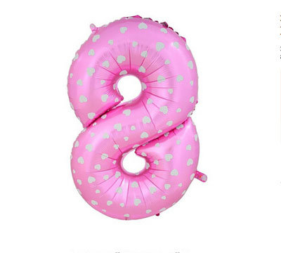 """40"""" Pink Colour Heart Pattern Number Helium Balloon 8 - 40P8"""