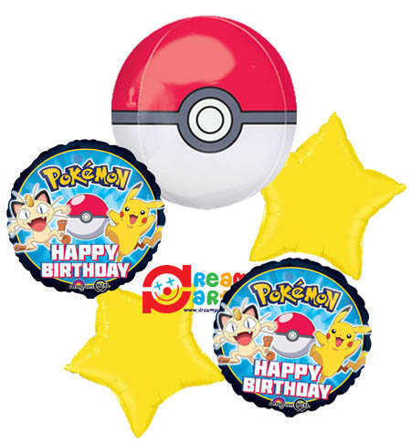 Pokemon Pokeball Helium Balloon Bouquet - bq37