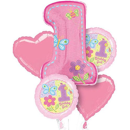 Baby Girl 1st Birthday Helium Balloon Bouquet - bq31