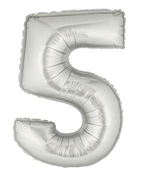 """14"""" Silver Number Balloon 5 - 14S5"""