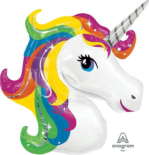 """30"""" Rainbow Colour Hair Unicorn Head Helium Balloon - z62"""