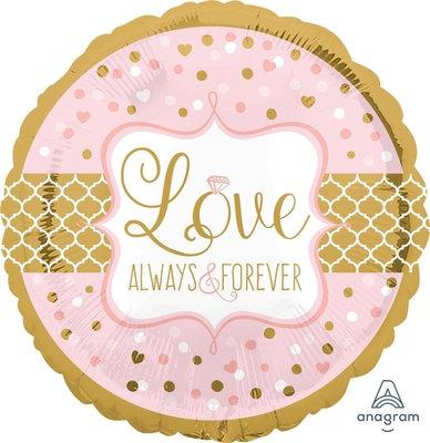 "18"" Heart & Dots Pattern Love Always Forever Wedding Helium Balloon - lv10"