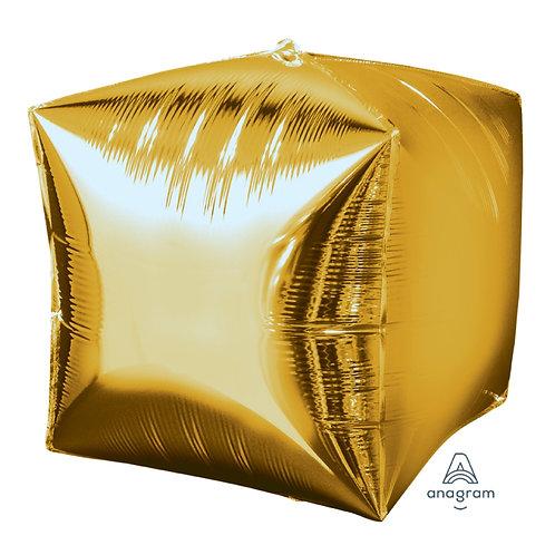 "16"" Cube Shape Helium Balloon - Gold"
