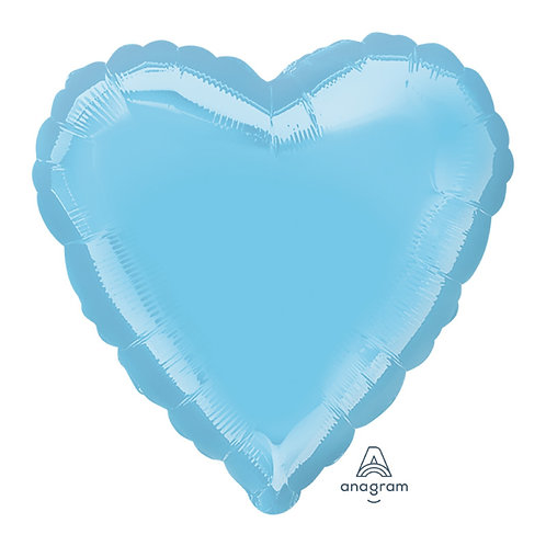"32"" Giant Heart Foil Balloon - Metallic Pearl Pastel Blue"