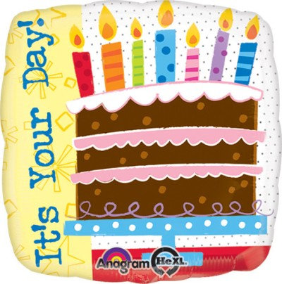 """18"""" Square Shape Birthday Cake It's Your Day Helium Balloon - hb40"""