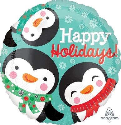 "18"" 3 Penguins Happy Holidays Helium Balloon - x32"