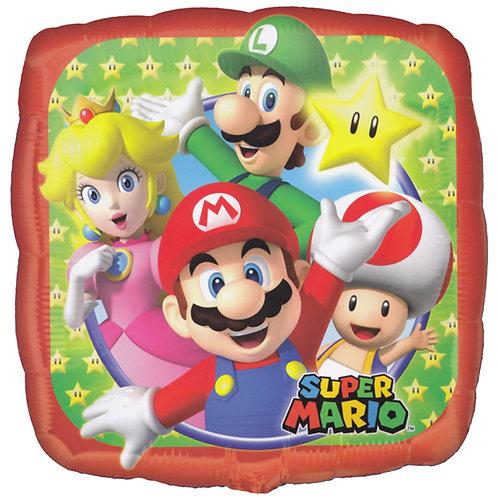 "18"" Sqaure Shape Super Mario Star Pattern Helium Balloon - y32"