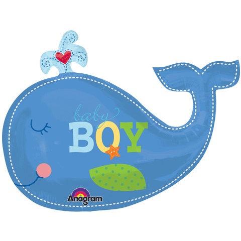 "30"" Baby Boy Big Whale Helium Balloon - bb52"