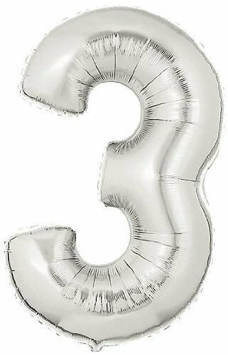 """14"""" Silver Number Balloon 3 - 14S3"""
