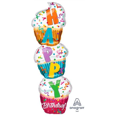 "40"" 3 in 1 Cupcake HBD Helium Balloon - hb65"
