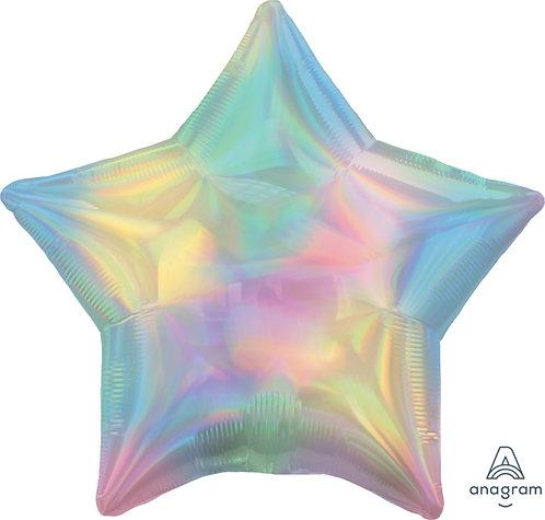 """19"""" Iridescent Pastel Rainbow Star Foil Balloon"""