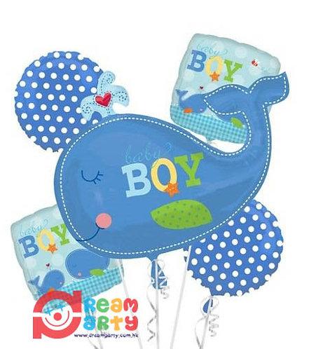 Cute Whale Baby Boy Helium Balloon Bouquet - bq26