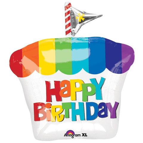 """30"""" Rainbow Birthday Cake HBD Helium Balloon - hb04"""