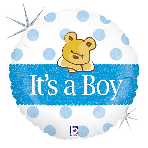 "18"" Baby Boy Bear Blue Dot Helium Balloon - bb17"