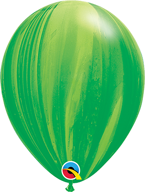 """11"""" Agate Latex Balloon - Green Rainbow SuperAgate"""