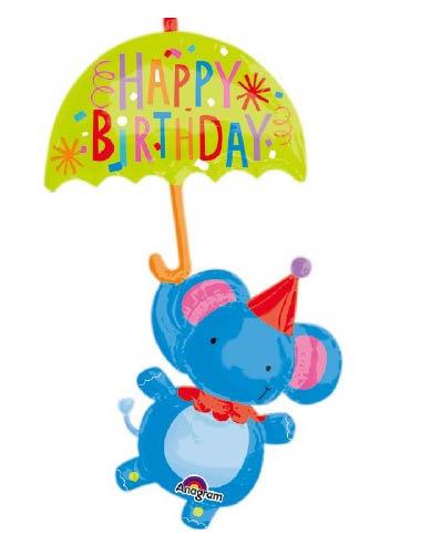 "40"" Umbrella Elephant Helium Balloon - z28"