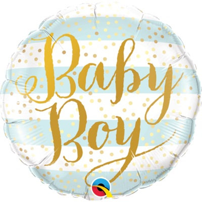 "18"" Baby Boy Blue Stripes & Gold Dots Pattern Helium Balloon - bb71"