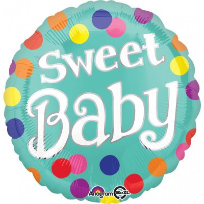 """18"""" Sweet Baby Colourful Dots Pattern Helium Balloon - bb61"""