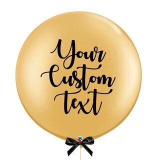 "30"" Personalise Giant Perfectly Round Metallic Latex Balloon - Gold"