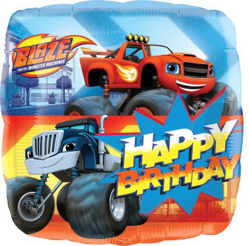 "18"" Square Shape Blaze and the Monster Machines HBD Helium Balloon - y122"