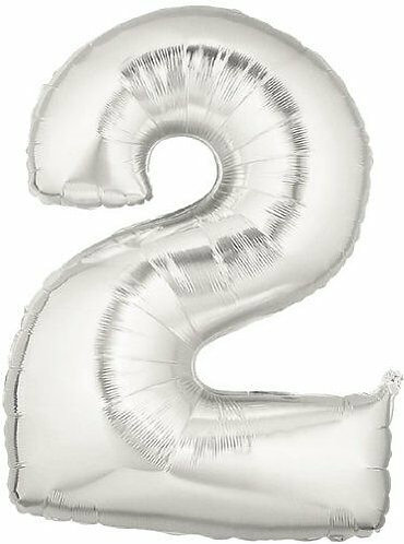 "14"" Silver Number Balloon 2 - 14S2"