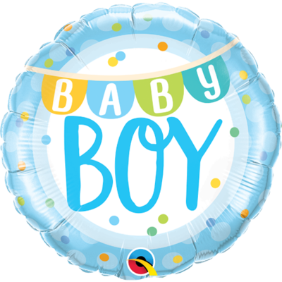 "18"" Baby Boy Flags & Colourful Dots Pattern Helium Balloon - bb75"