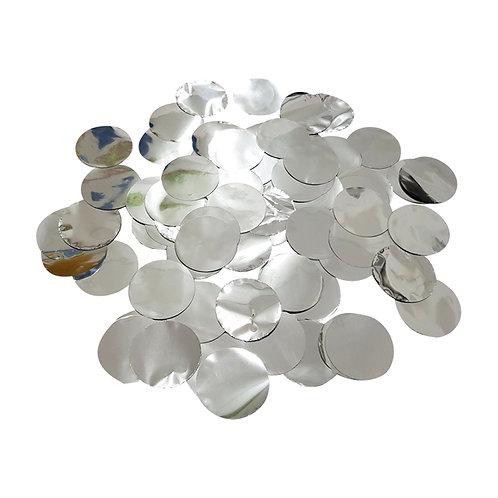 30gram Mini Paper Round Confettis (2.5cm) - Metallic Silver