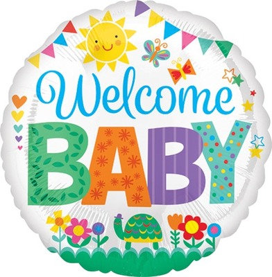 """18"""" Baby Shower Colourful Party Flag Helium Balloon - bb70"""