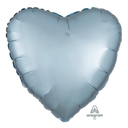 "18"" Satin Luxe Heart Foil Balloon - Steel Blue"