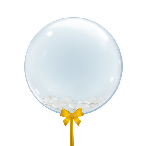 """24"""" Crystal Clear Balloon - Feathers Filled"""