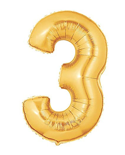 "14"" Gold Number Balloon 3 - 14G3"