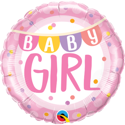 "18"" Baby Girl Flags & Colourful Dots Pattern Helium Balloon - bb76"