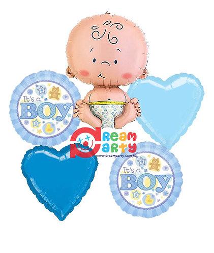 Baby Boy Helium Balloon Bouquet - bq23