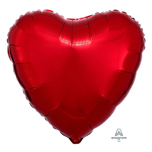 "32"" Giant Heart Foil Balloon - Metallic Red"