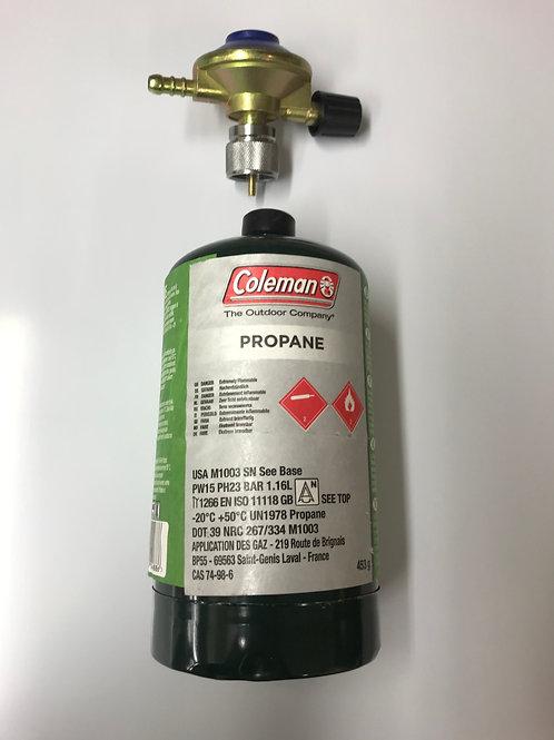 Gas regulator and adaptor for disposable Coleman gas