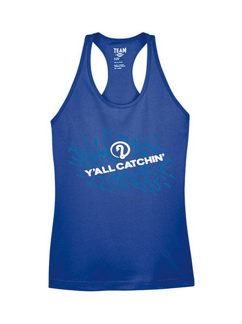 Women's Y'all Catchin' Splash Logo Drifit Tank Top (SPORT BLUE)