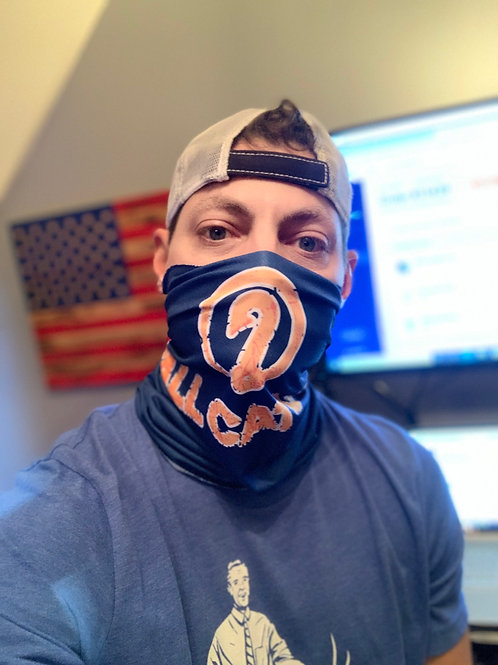 Y'all Catchin LOGO Face Covering (Blue/Orange)