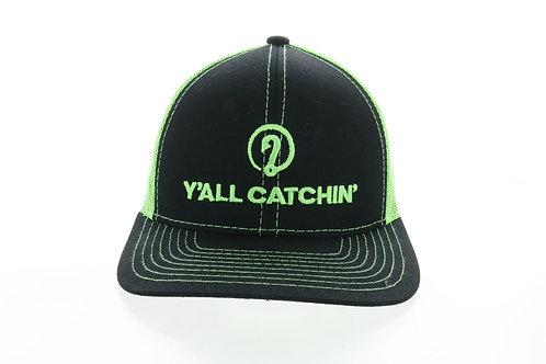 Y'ALL CATCHIN' LOGO SNAPBACK CAP (Neon Green/Black)