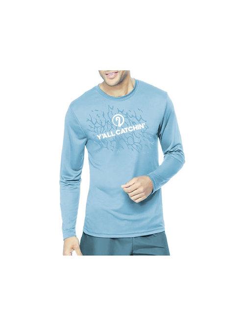 Y'all Catchin' Logo Drifit Fishing Shirt (Light Blue)