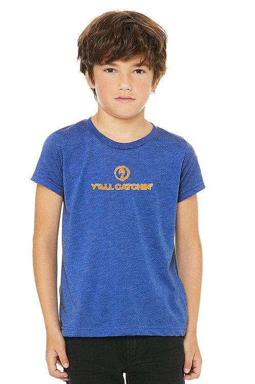 Y'all Catchin' Logo Kids Tee (True Blue/Orange White LOGO)