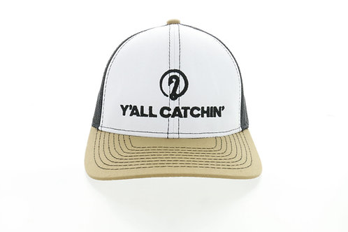 WHO DAT! Y'ALL CATCHIN' LOGO CAP SNAPBACK (White/Black/Old Gold))
