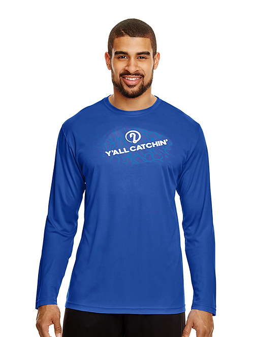 Y'all Catchin' Logo Drifit Fishing Shirt (SPORT BLUE)
