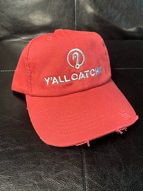 Y'all Catchin' Logo Distressed collapsible Red with silver stitching