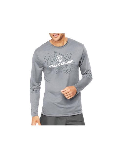 Y'all Catchin' Logo Drifit Fishing Shirt (Light Grey)