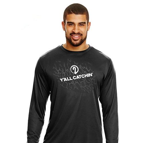 Y'all Catchin' Splash Logo Drifit Fishing Shirt (BLACK)