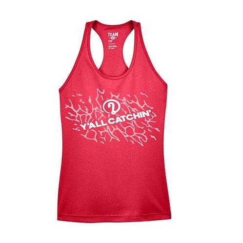 Women's Y'all Catchin' Splash Logo Drifit Tank Top (RED)